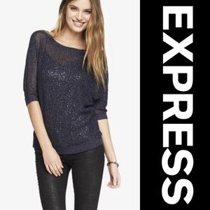 🏷NWT EXPRESS Navy Sparkle Mesh Dolman Knit